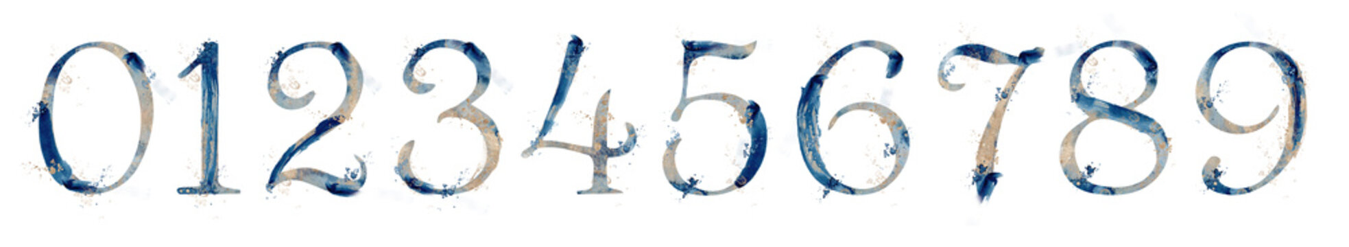 Watercolor abstract marine numbers set with gold strokes from 0 to 9 hand drawn