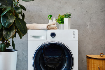 plants, towel and bottles on washing machine near laundry basket in bathroom