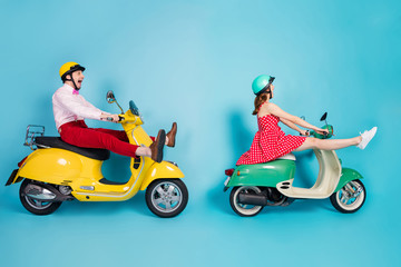 Full length profile photo of crazy lady guy couple drive two retro moped travelers traffic jam easy...