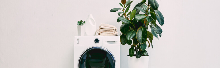 panoramic shot of modern bathroom with plants near detergent bottle and towels on washing machine