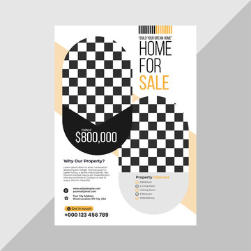 Real Estate Business Flyer Simple Layout with Yellow and Blue Accent