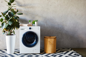 Foto op Aluminium Londen green plants, towel and bottles on white washing machine near laundry basket and ornamental carpet in bathroom