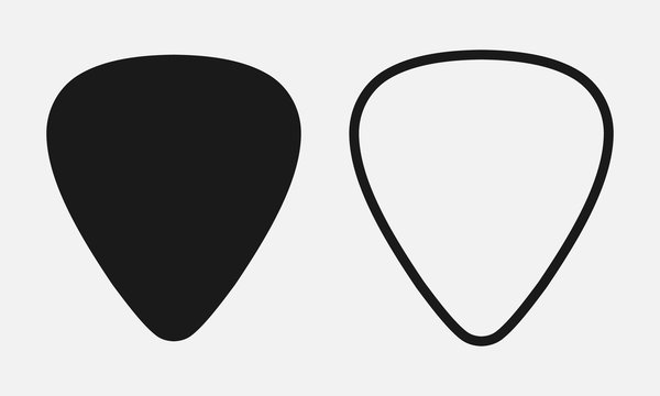 Set of blank solid and line guitar picks vector icon isolated on white background.