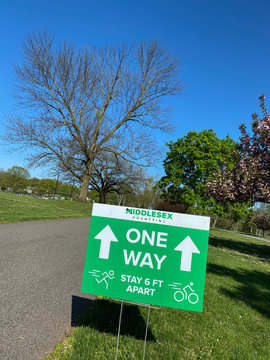 Social Distancing One Way Sign in Park