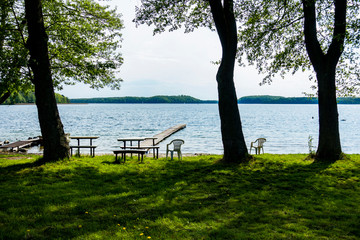 Jezioro drzewa molo