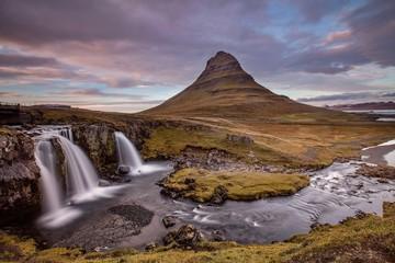 Foto auf Gartenposter Dunkelbraun Waterfalls On Countryside Landscape