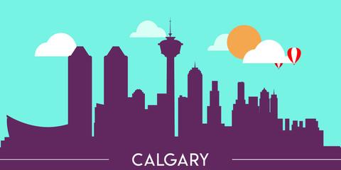 Fototapeten Reef grun Calgary skyline silhouette flat design vector illustration