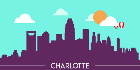 Wall Murals Green coral Charlotte skyline silhouette flat design vector illustration