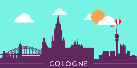 Wall Murals Green coral Cologne skyline silhouette flat design vector illustration