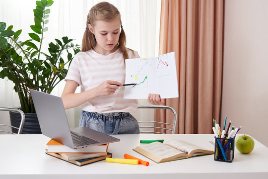 Teen girl presenting her project to a teacher during remote learning at home, homeschooling education, Social distancing, isolation concept