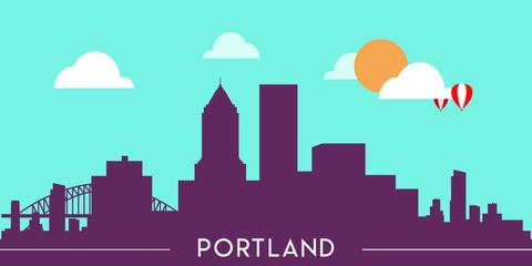 Wall Murals Green coral Portland skyline silhouette flat design vector illustration