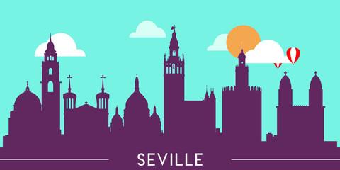 Wall Murals Green coral Seville skyline silhouette flat design vector illustration