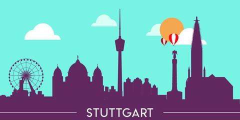Wall Murals Green coral Stuttgart skyline silhouette flat design vector illustration