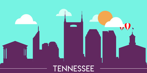 Wall Murals Green coral Tennessee skyline silhouette flat design vector illustration