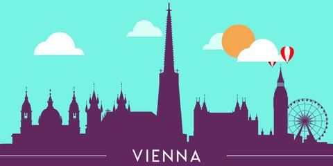 Wall Murals Green coral Vienna skyline silhouette flat design vector illustration