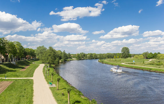 Bicycle path along the river Ems in Haren, Germany