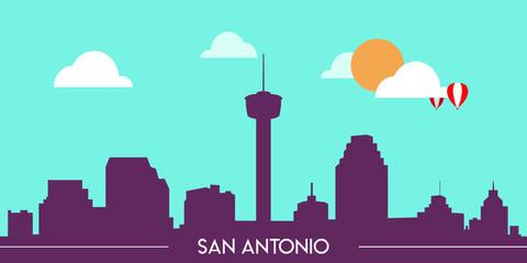 Wall Murals Green coral San Antonio skyline silhouette flat design vector illustration