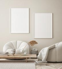 Papiers peints Pierre, Sable mock up poster frame in modern interior background, living room, Scandinavian style, 3D render, 3D illustration