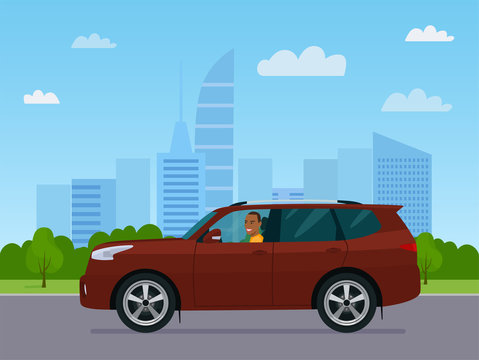 SUV car with a afro american man driving on a background of abstract cityscape. Vector flat style illustration.