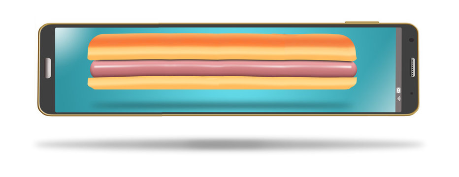 A footlong hotdog fills the screen on a very long cell phone in this illustration about phone in orders, carry out and delivery of restaurant food.