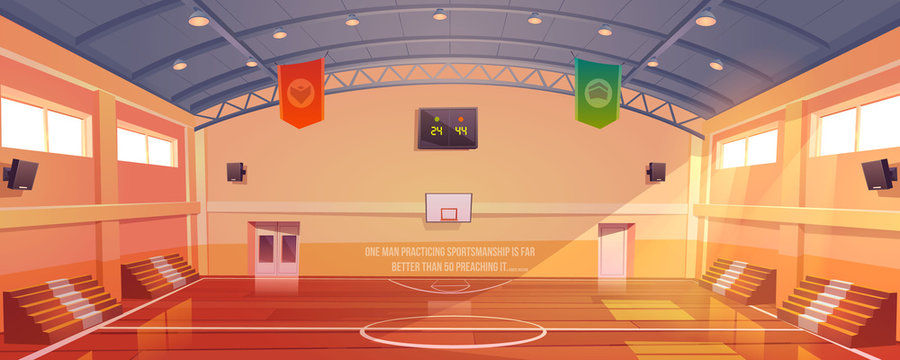 Basketball court with hoop, tribune and scoreboard. Vector cartoon illustration of empty school gym, sport ground with wooden floor, fan seats for game tournament and competition