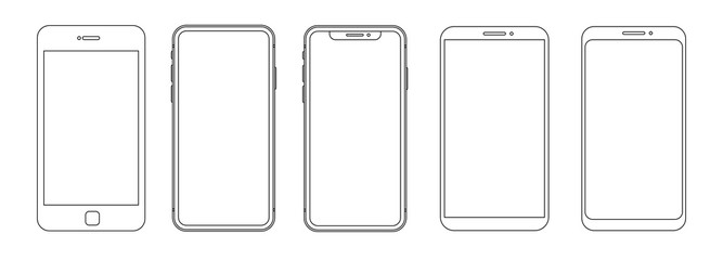 Outline graphic mobile phone. Vector illustration