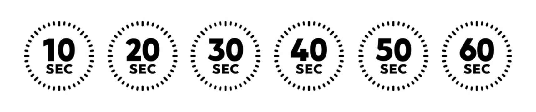 Digital timer vector set icon