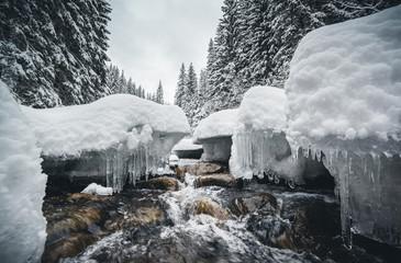 壁紙(ウォールミューラル) - Frozen stones on the river on a frosty day.