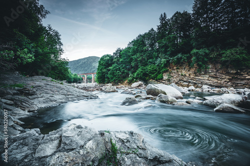 Wall mural Incredible and stormy Prut river. Location place Carpathian mountains, Jaremcze resort, Ukraine.