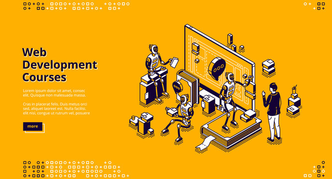 Web development courses isometric landing page. Ai robots and human communicate front of huge computer monitor. Online school, distance education classes, internet marketing 3d vector line art banner