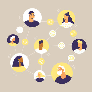 People and internet networks. Online chat and video call between friends and family. Avatars in a circle. Social line icons: call, emoji, message, share, like. Vector illustration, flat design