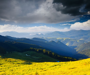 Wall Mural - Idyllic countryside landscape in the morning light. Location place Carpathian mountains, Ukraine, Europe.