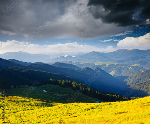 Wall mural Idyllic countryside landscape in the morning light. Location place Carpathian mountains, Ukraine, Europe.