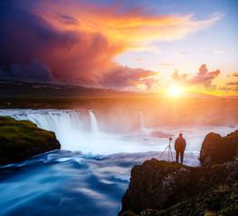Wall Mural - Great rapid flow of water powerful Godafoss cascade. Location place Skjalfandafljot river, Iceland.