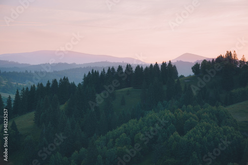 Wall mural Splendid countryside landscape in the morning light. Location place Carpathian mountains, Ukraine, Europe.
