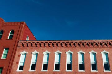 Historic brick building in Downtown McKinney, Texas, a suburb of Dallas, Texas.