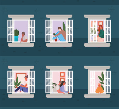 People looking out the windows from blue building vector design
