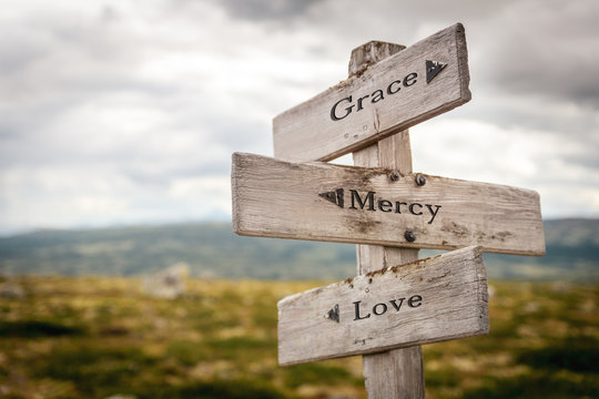 grace mercy love text engraved on old wooden signpost outdoors in nature. Quotes, words and illustration concept