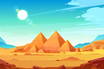 Poster Green coral Egyptian pyramids landscape cartoon vector
