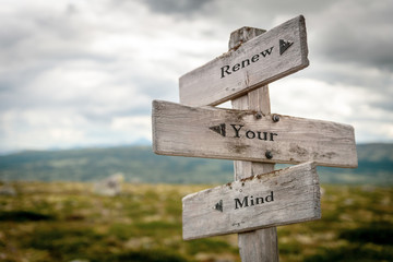 renew your mind text engraved on old wooden signpost outdoors in nature. Quotes, words and illustration concept. Wall mural