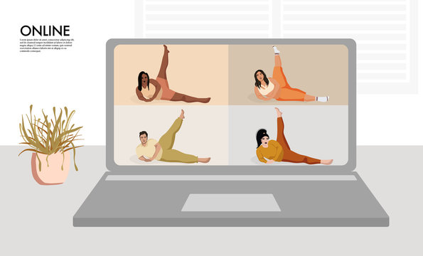 Overweight models making yoga. Curves Online remote  training, diverse character stay at home doing  fitness . Home gym  virtual lockdown activity.  Zoom sport class cartoon character vector