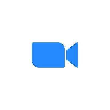 Zoom app logo icon. Video communication symbol outline, simple, vector, icon for website design, mobile app, ui. Vector Illustration