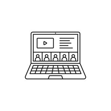 Online presentation icon. Video connection symbol modern, simple, vector, icon for website design, mobile app, ui. Vector Illustration