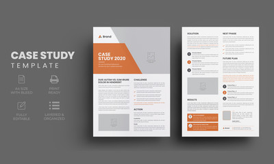 Case study template | Business case study layout with orange elements