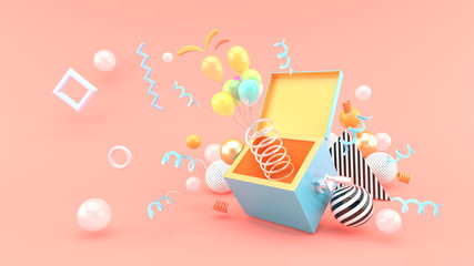 A surprise box surrounded by balloons and ribbon on a pink background.-3d rendering. Wall mural