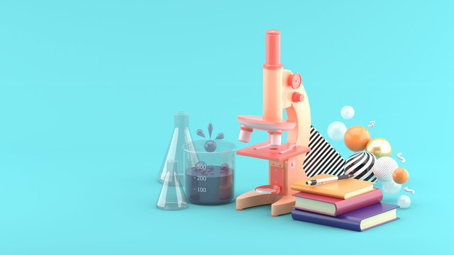 Microscopes, books and test tubes amidst colorful balls on a blue background.-3d rendering..