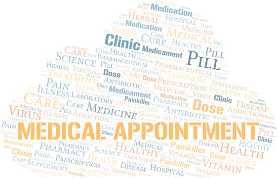 Medical Appointment word cloud collage made with text only.