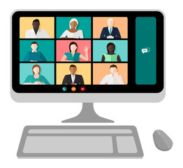 Computer screen with a video conference call with multicultural people and different genders vector