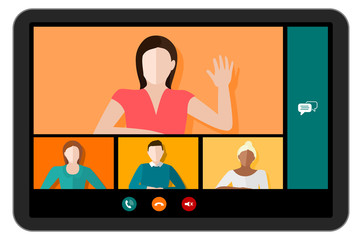 Fototapeta Tablet screen with a video conference call with multicultural people and different genders vector obraz