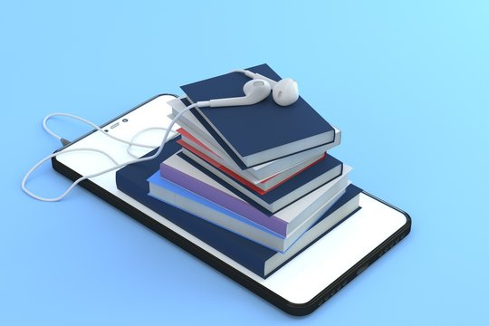 Concept of audio book with headphones. 3d pile of books with the headphones on the smartphone screen. Listening to e-books in audio format. Books online. 3d rendering. Online learning concept.